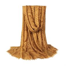 Scarf w. snake print, mustard, Just D`Lux