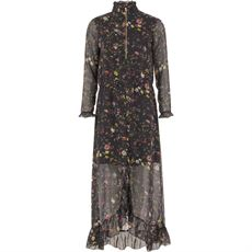 Long dress in Botanical print w. ruffle and sleeves, Coster Copenhagen