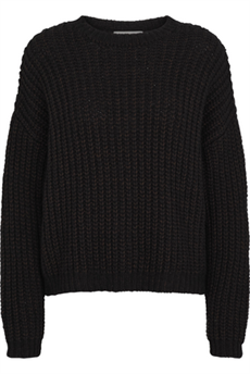 JUST FEMALE STRIK, LIVIA O NECK KNIT, COFFEE BEAN