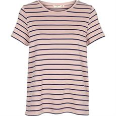 BASIC APPAREL T-SHIRT, DOTTE STRIPPED TEE, DUSTY ROSE/NAVY