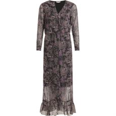 Dress in Night Dreamers print w. ruffles, Thunder Grey, Coster Copenhagen