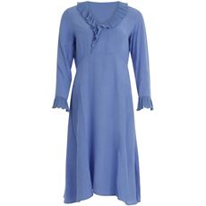 COSTER COPENHAGEN KJOLE, DRESS IN VISCOSE WITH V-NECK AND  RUFFLE ,  SKY BLUE