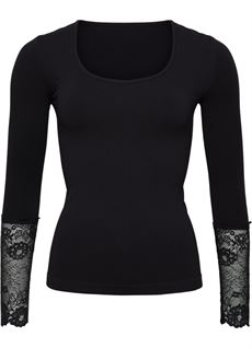 TIM OG SIMONSEN TOP, LONG SLEEVE LACE, BLACK