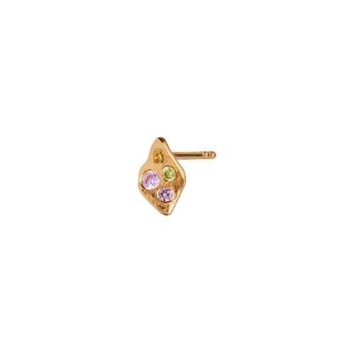 STINE A ØRERING, PETIT ILE DE L'AMOUR WITH STONES EARRING GOLD, LIGHT PINK SORBET