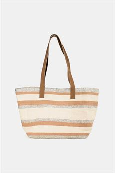 RE:DESIGNED - LILA STRIPE CANVAS TASKE I BEIGE